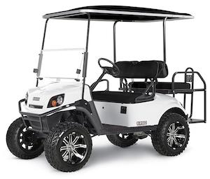 A white E-Z-GO Express S4 golf cart.