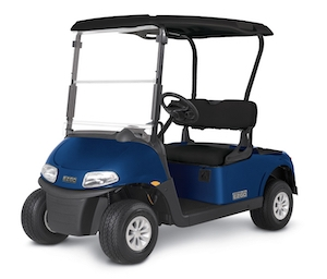 A blue E-Z-GO Freedom RXV golf cart.
