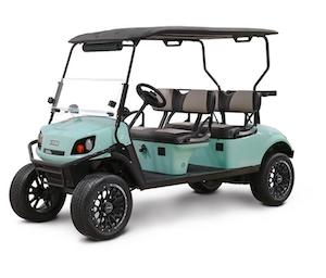 Sea green color E-Z-GO Special Edition Shoreline golf cart.