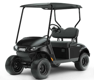 E-Z-GO black Valor model golf cart.