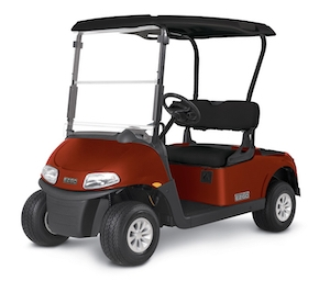 A red E-Z-GO Freedom RXV new golf cart.