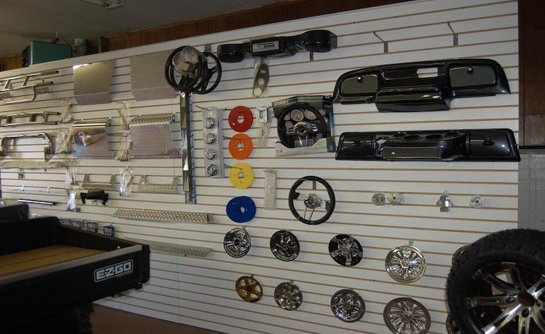 Golf cart accessories display at Carts & Parts in Union City, IN.