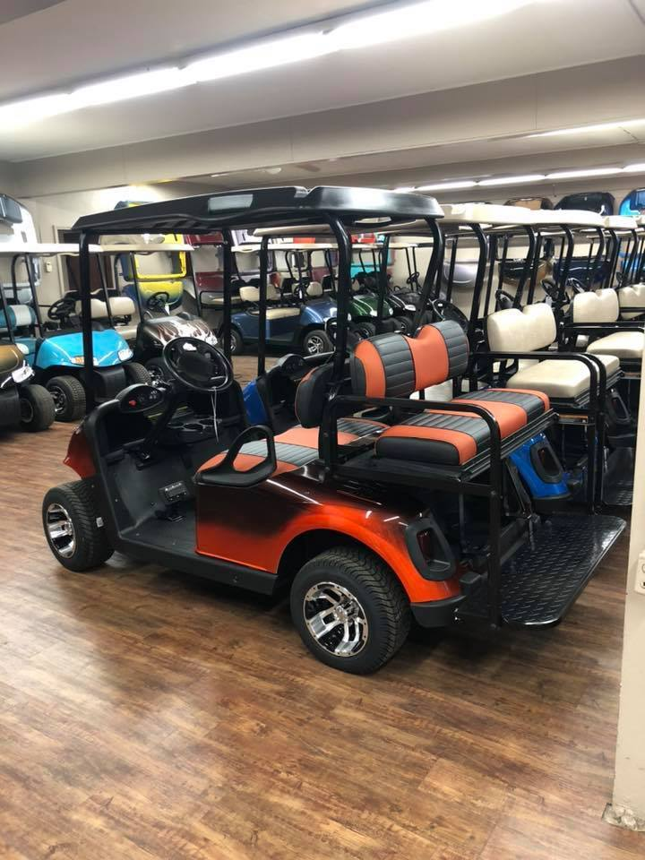 Rows of golf carts at Carts & Parts in Union City, IN.