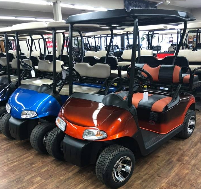 Group of golf carts for sale at Carts & Parts in Union City, IN.